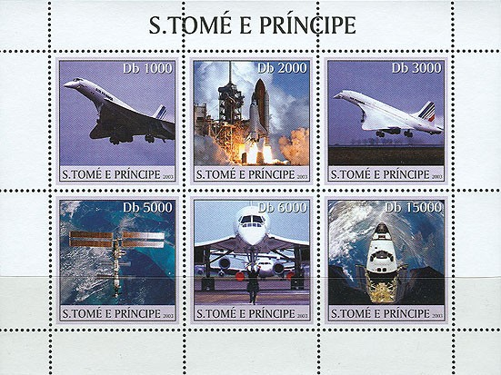 Concorde - Space 6v - Issue of Sao Tome and Principe postage stamps