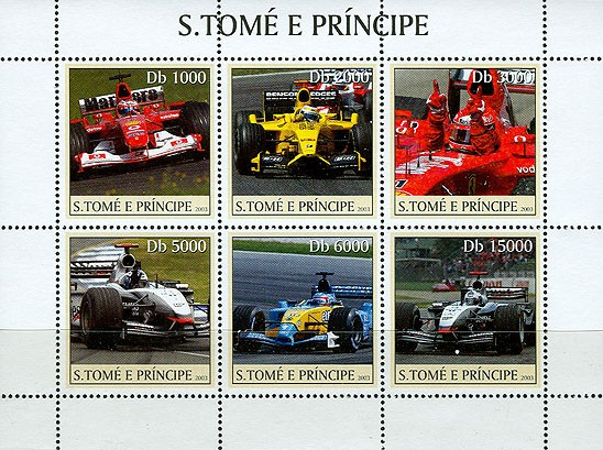 Formula I (red car) 6v - Issue of Sao Tome and Principe postage stamps