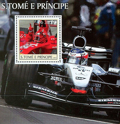 Formula I (red car) s/s - Issue of Sao Tome and Principe postage stamps