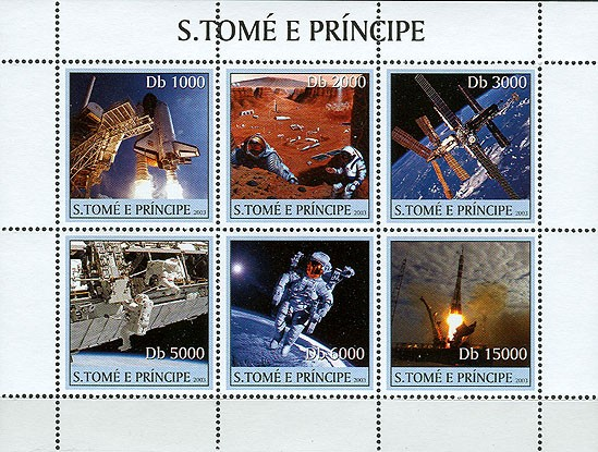 Space (rocket) 6v - Issue of Sao Tome and Principe postage stamps