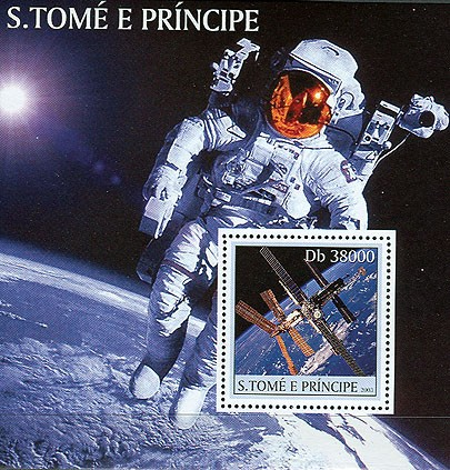 Space (satellite) s/s - Issue of Sao Tome and Principe postage stamps