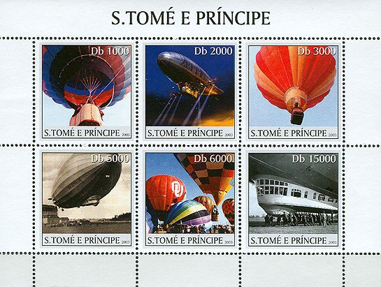 Balloons - zeppelin 6v - Issue of Sao Tome and Principe postage stamps