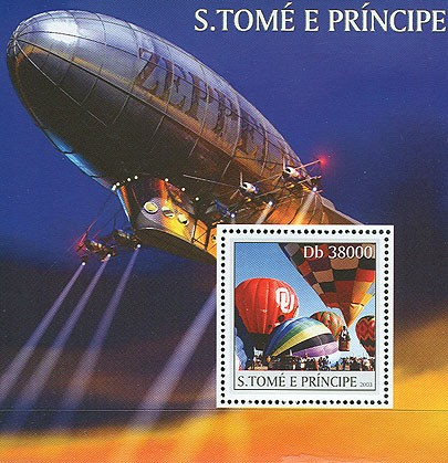 Balloons - zeppelin s/s - Issue of Sao Tome and Principe postage stamps