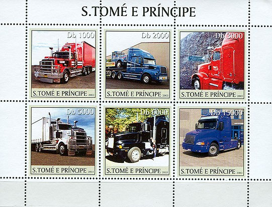 Trucks 6v - Issue of Sao Tome and Principe postage stamps