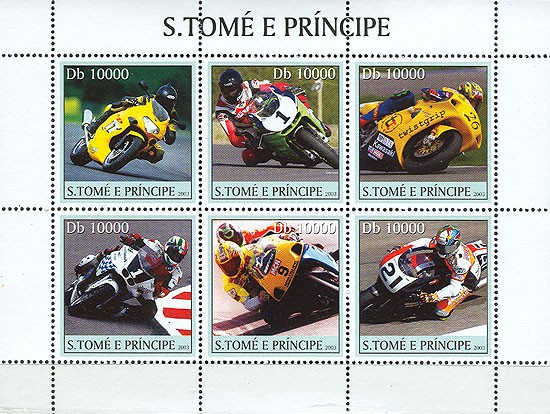 Motorcycles 6v - Issue of Sao Tome and Principe postage stamps