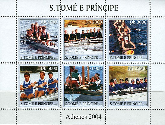 Rowing 6v - Issue of Sao Tome and Principe postage stamps