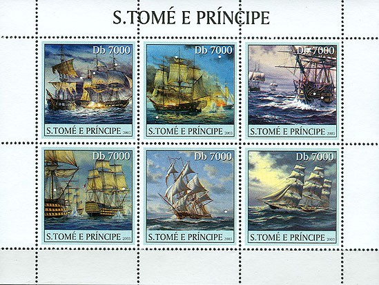 Sail ships 6v - Issue of Sao Tome and Principe postage stamps