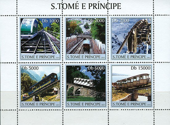 Mountain trains 6v - Issue of Sao Tome and Principe postage stamps