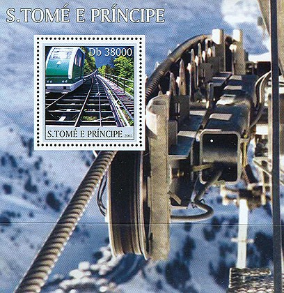 Mountain trains s/s - Issue of Sao Tome and Principe postage stamps