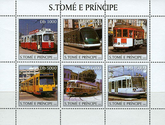Trams 6v - Issue of Sao Tome and Principe postage stamps