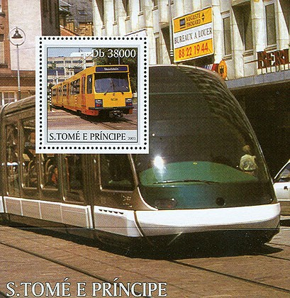 Trams s/s - Issue of Sao Tome and Principe postage stamps