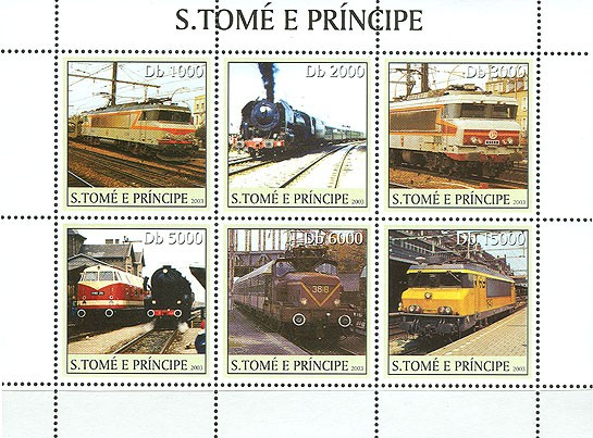 French Trains 6v - Issue of Sao Tome and Principe postage stamps