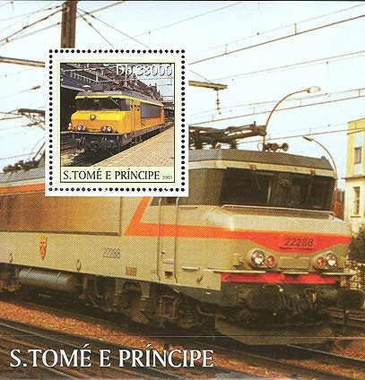 French Trains s/s - Issue of Sao Tome and Principe postage stamps