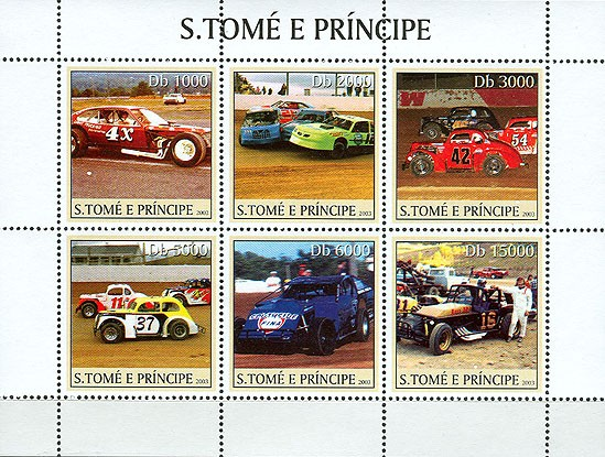 Stock Cars 6v - Issue of Sao Tome and Principe postage stamps