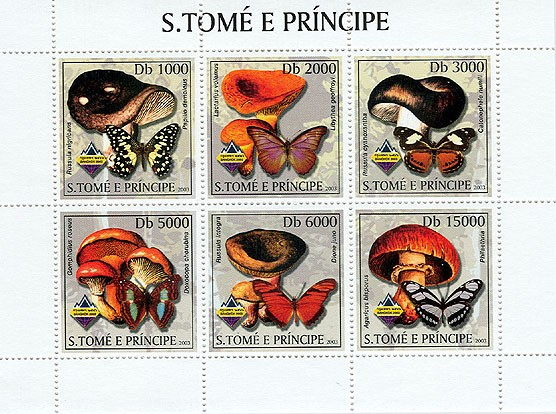 Mushrooms & Butterflies - Issue of Sao Tome and Principe postage stamps