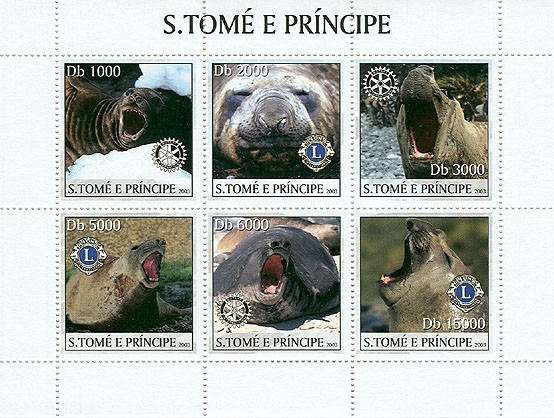 Seals & Lions-Rotary - Issue of Sao Tome and Principe postage stamps