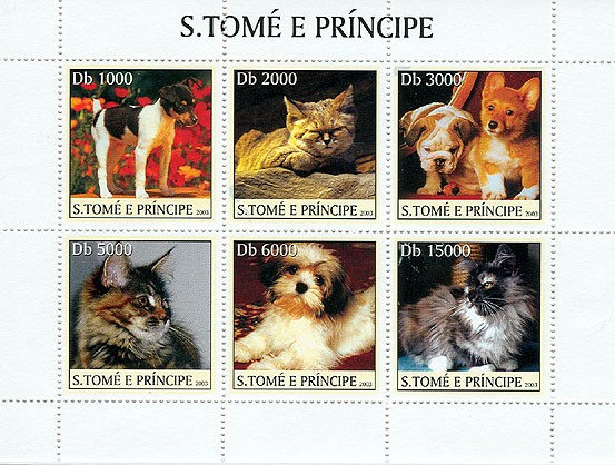 Dogs & Cats (1st stamp red) - Issue of Sao Tome and Principe postage stamps