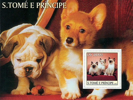 Dogs & Cats (cat in the stamp) - Issue of Sao Tome and Principe postage stamps