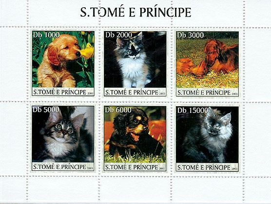 Dogs & Cats (1st stamp green) - Issue of Sao Tome and Principe postage stamps