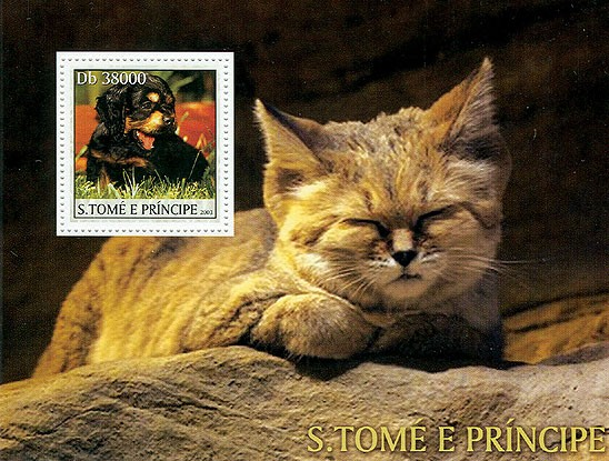 Dogs & Cats (dog in the stamp) - Issue of Sao Tome and Principe postage stamps