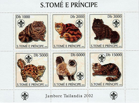 Cats & Scouts 6v - Issue of Sao Tome and Principe postage stamps