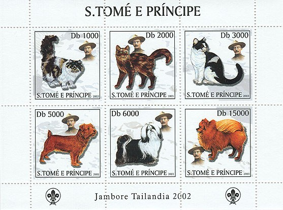 Dogs & Cats & Scouts 6v - Issue of Sao Tome and Principe postage stamps
