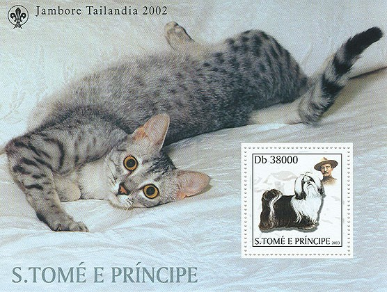 Dogs & Cats & Scouts s/s (dog in the stamp) - Issue of Sao Tome and Principe postage stamps