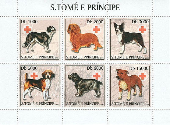 Dogs & Red Cross - Issue of Sao Tome and Principe postage stamps