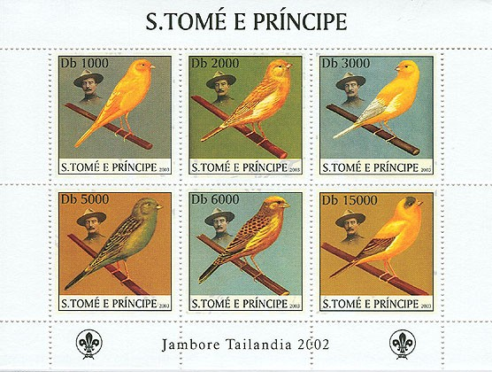 Canaries & Scouts - Issue of Sao Tome and Principe postage stamps
