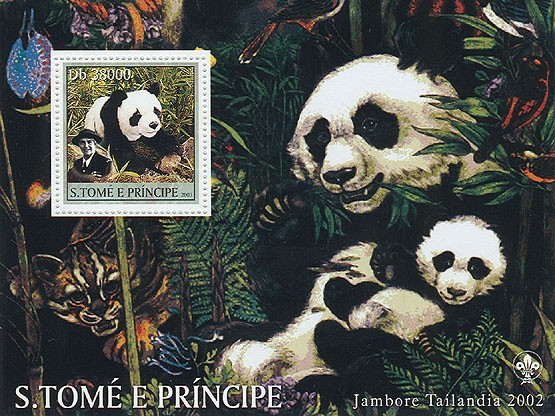 Pandas & Scouts - Issue of Sao Tome and Principe postage stamps