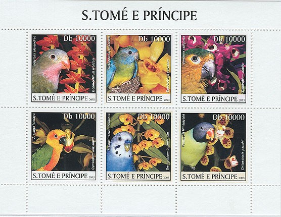 Parrots - Issue of Sao Tome and Principe postage stamps