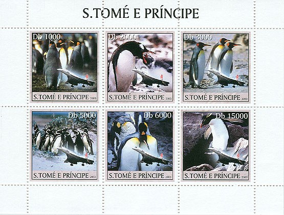 Penguins & Concorde - Issue of Sao Tome and Principe postage stamps