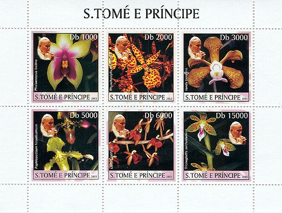 Orchids & Pope - Issue of Sao Tome and Principe postage stamps