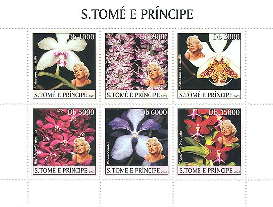 Orchids & Marilyn Monroe - Issue of Sao Tome and Principe postage stamps