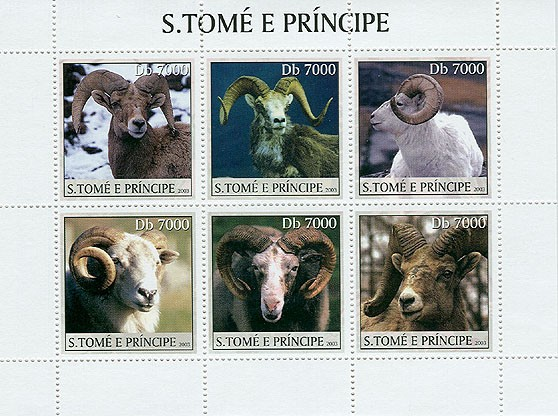 Moufflons (wild rams) - Issue of Sao Tome and Principe postage stamps