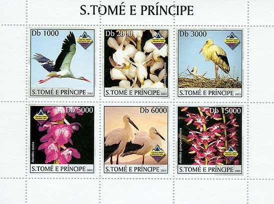 Storks & Orchids - Issue of Sao Tome and Principe postage stamps