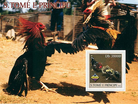 Combat Cocks - Issue of Sao Tome and Principe postage stamps