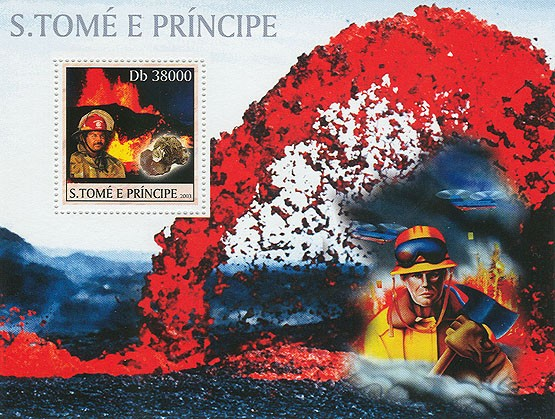 Vulcan & Minerals & Fire-Enginers (red) - Issue of Sao Tome and Principe postage stamps