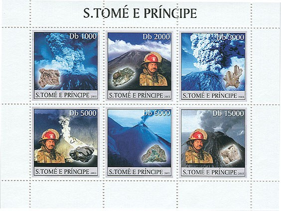 Vulcan & Minerals & Fire-Enginers (blue) - Issue of Sao Tome and Principe postage stamps