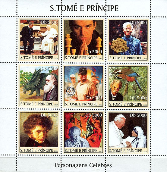 Celebrities - Issue of Sao Tome and Principe postage stamps
