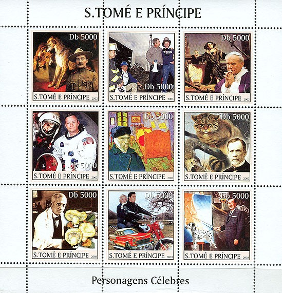 Celebrities (1st stamp B. Powell) 9v - Issue of Sao Tome and Principe postage stamps