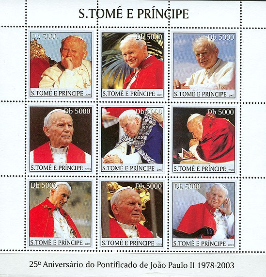 Pope John Paul II (blue in the centre) 9v - Issue of Sao Tome and Principe postage stamps
