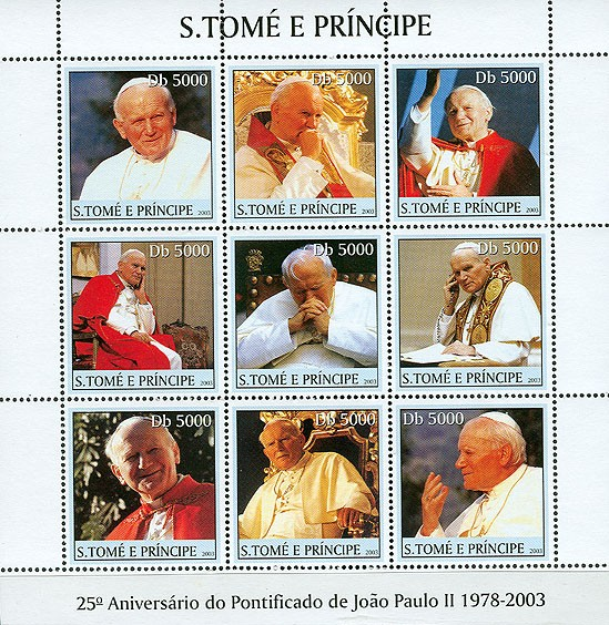 Pope John Paul II (white in the centre) 9v - Issue of Sao Tome and Principe postage stamps