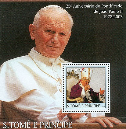 Pope John Paul II (black border) s/s - Issue of Sao Tome and Principe postage stamps