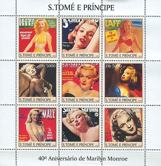 Marilyn Monroe (red in the centre) 9v - Issue of Sao Tome and Principe postage stamps