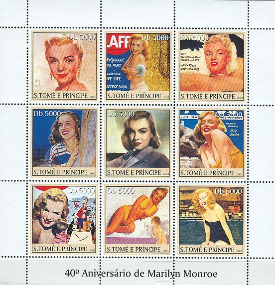 Marilyn Monroe  9v - Issue of Sao Tome and Principe postage stamps
