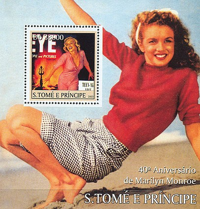 Marilyn Monroe (with pullover) s/s - Issue of Sao Tome and Principe postage stamps