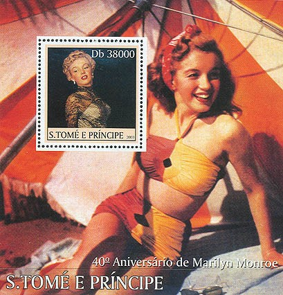 Marilyn Monroe (swimsuit) s/s - Issue of Sao Tome and Principe postage stamps