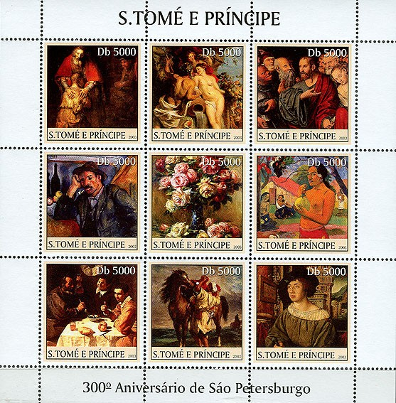 300th Anniversary St. Petersburg (flowers in the centre) 9v - Issue of Sao Tome and Principe postage stamps