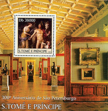 300th Anniversary St. Petersburg (nude art) s/s - Issue of Sao Tome and Principe postage stamps